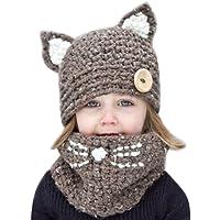 CHIC-CHIC 2pc Bonnet + Tour de Cou Hiver Bébé Enfants Cagoule Chaud Casquette Echarpe Capuche Chapeaux Mignon