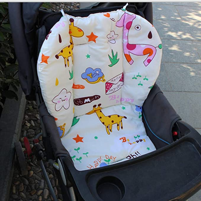 Pushchair Soft Mattresses Pad High Chair Cushion Liner Replacement with Straps Perfeclan 2 PCS Cotton Baby Seat Liner for Stroller