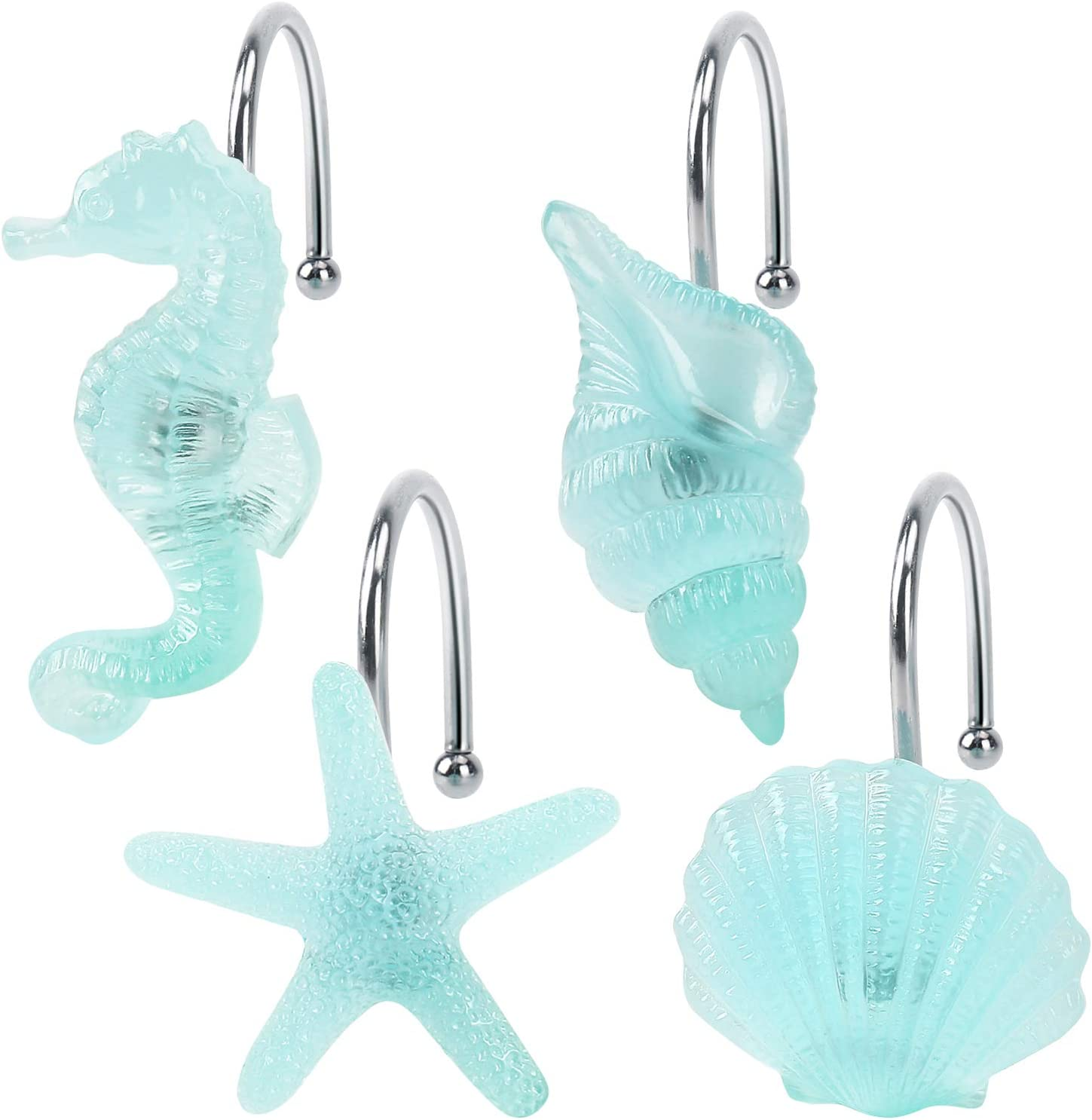 KAWANA Shower Curtain Hooks, Set of 12 Glow in The Dark Starfish, Seashell, Conch, and Seahorse Decorative with Rust Proof Stainless Steel Hook, Blue Ocean Beach Theme Bathroom Décor