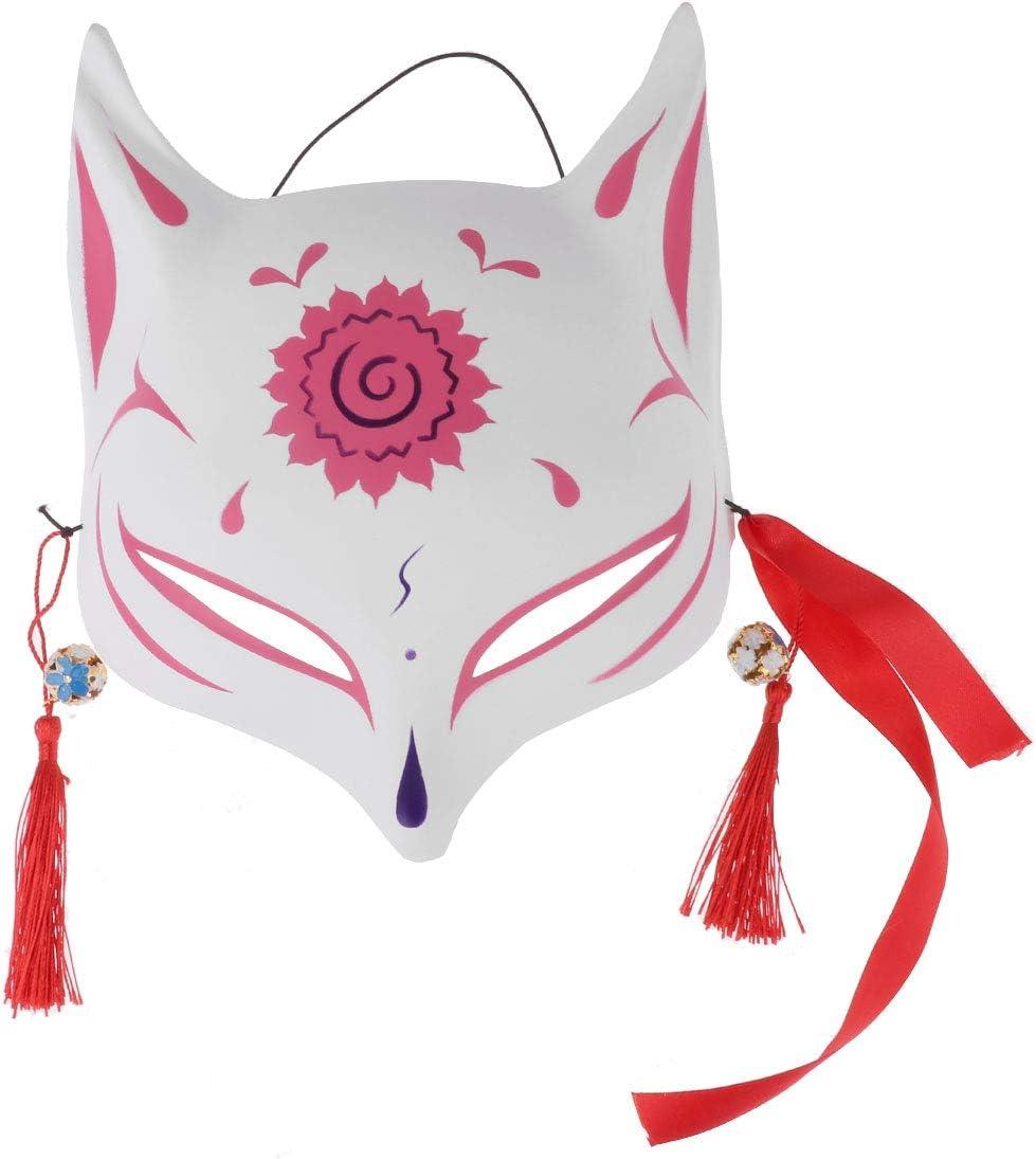 iixpin Masque Renard Fantaisie D/éguisement Adulte Enfant Dessin/é /à la Main Japonais Costume Carnaval Tassels Plume Naturel Spectacle Mascarade f/ête Kabuki Kitsune Rouge Taille Unique