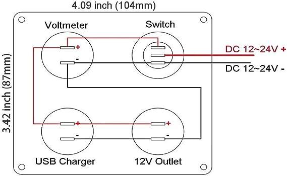 Toogoo 4 Funktionsfeld Dual Usb Ladegeraet Gruene Led Volt 12 V Steckdose Ein Aus Schalter Auto