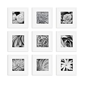 Gallery Perfect Square Photo Gallery Wall Decorative Art Prints & Hanging Template 9 Piece White Frame KIT