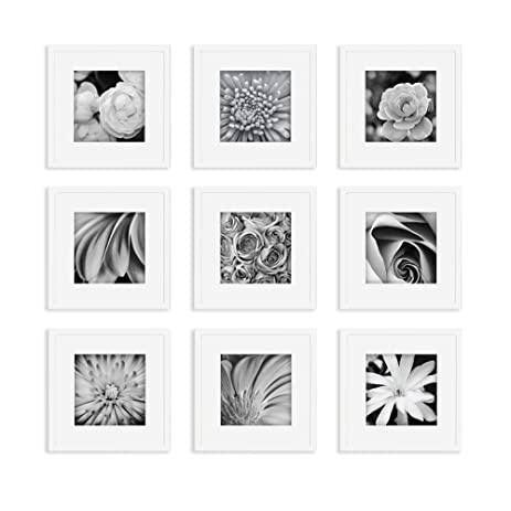 gallery perfect 9 piece white square photo frame wall gallery kit 16fw1004 includes - White Square Frames