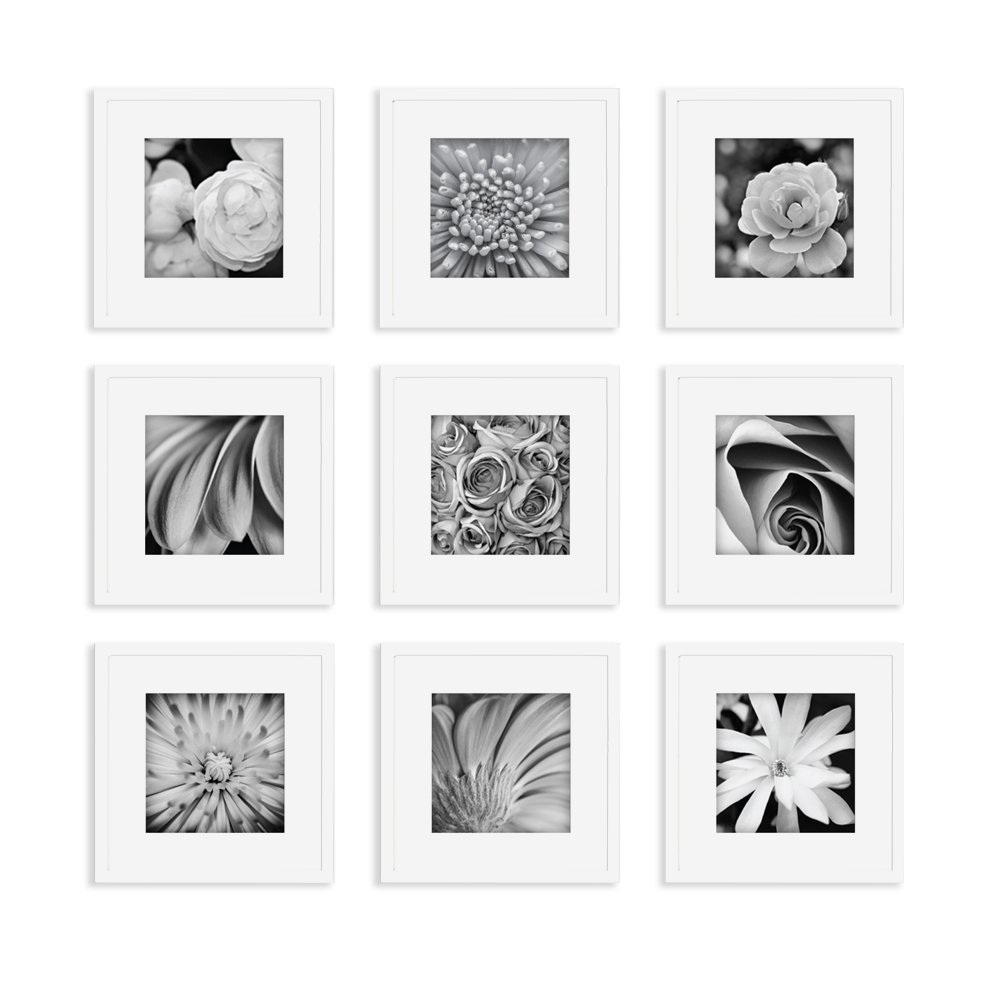 Gallery Perfect 9 Piece White Square Photo Frame Wall Gallery Kit. Includes: Frames, Hanging Wall Template, Decorative Art Prints and Hanging Hardware