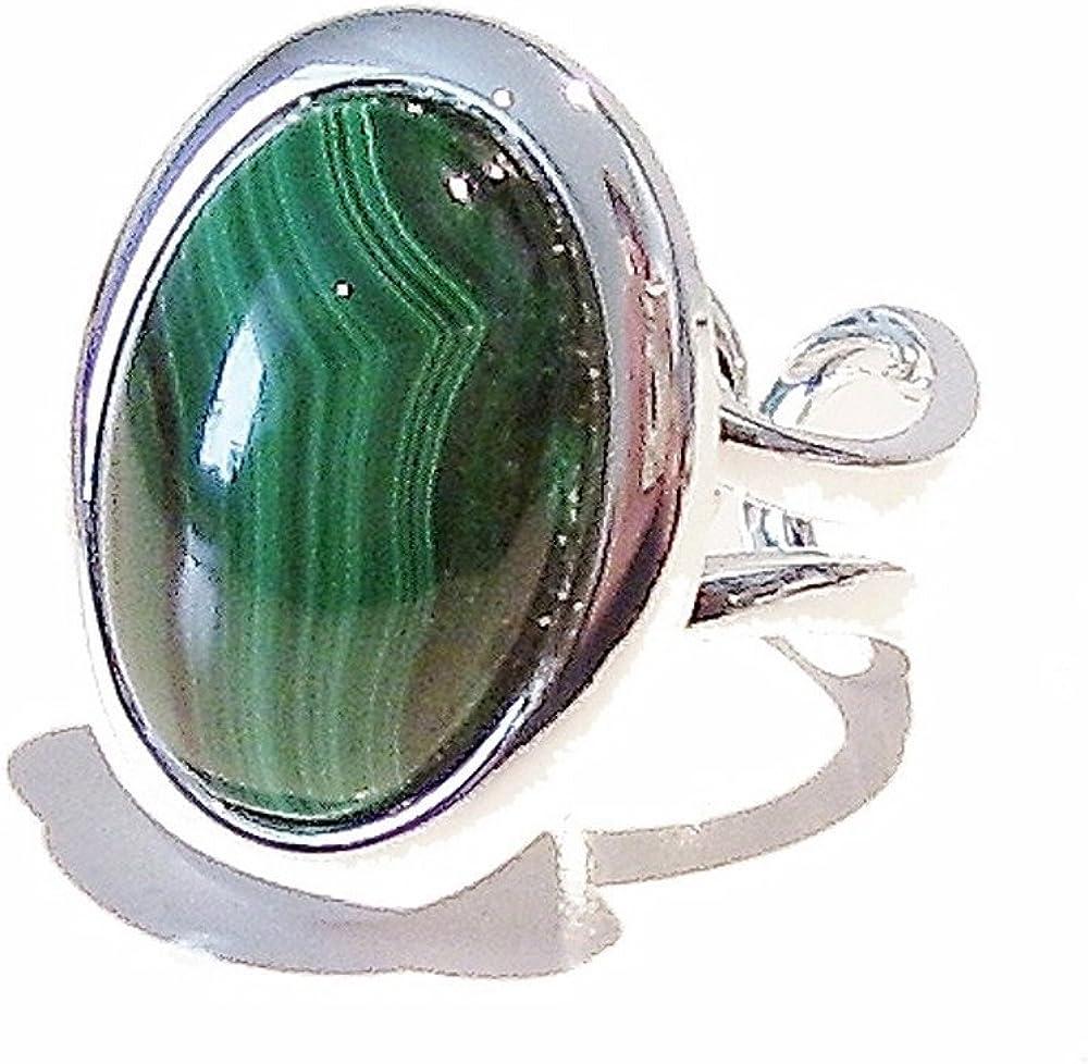 Bague Classique Avec Pierre Semi-pr/écieux Ajustable 23 x 17mm Malachite Vert