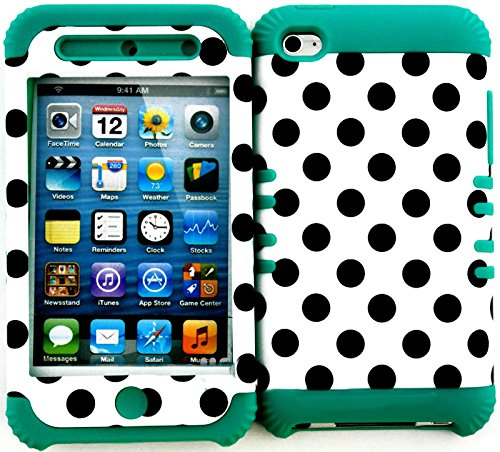 """myLife 2 Layered Protection Hybrid Case for Apple iPod 4 iTouch {Teal, Black and White """"Balanced Polka Dots"""" Three Piece SECURE-Fit Rubberized Gel}"""