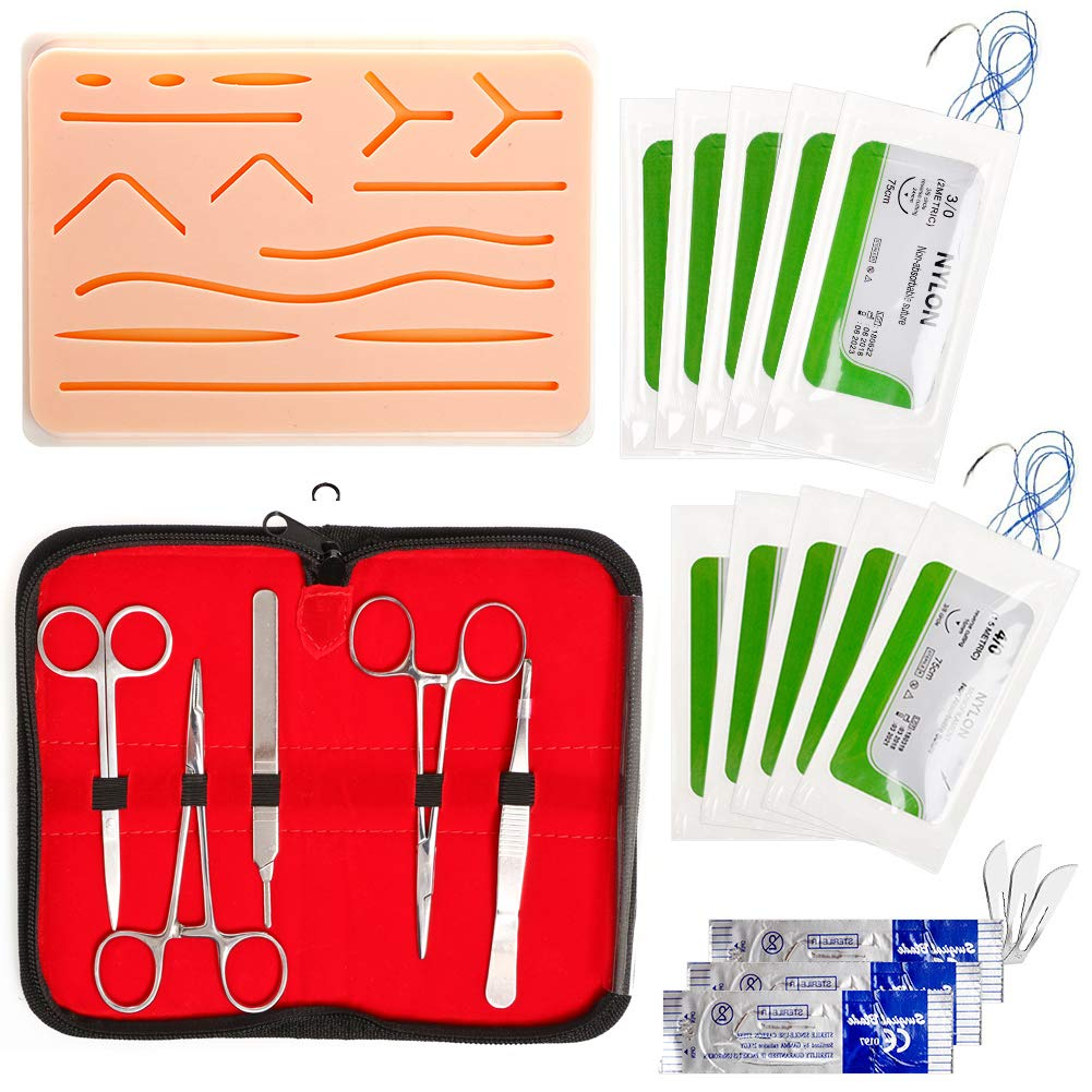 20Pcs Suture Practice Kits Set, LAMPTOP Suture Kit Medical Student Including Silicone Suture Pad Training with Pre Wounds,Threads with Needle and Instrument Tools for Suture Training