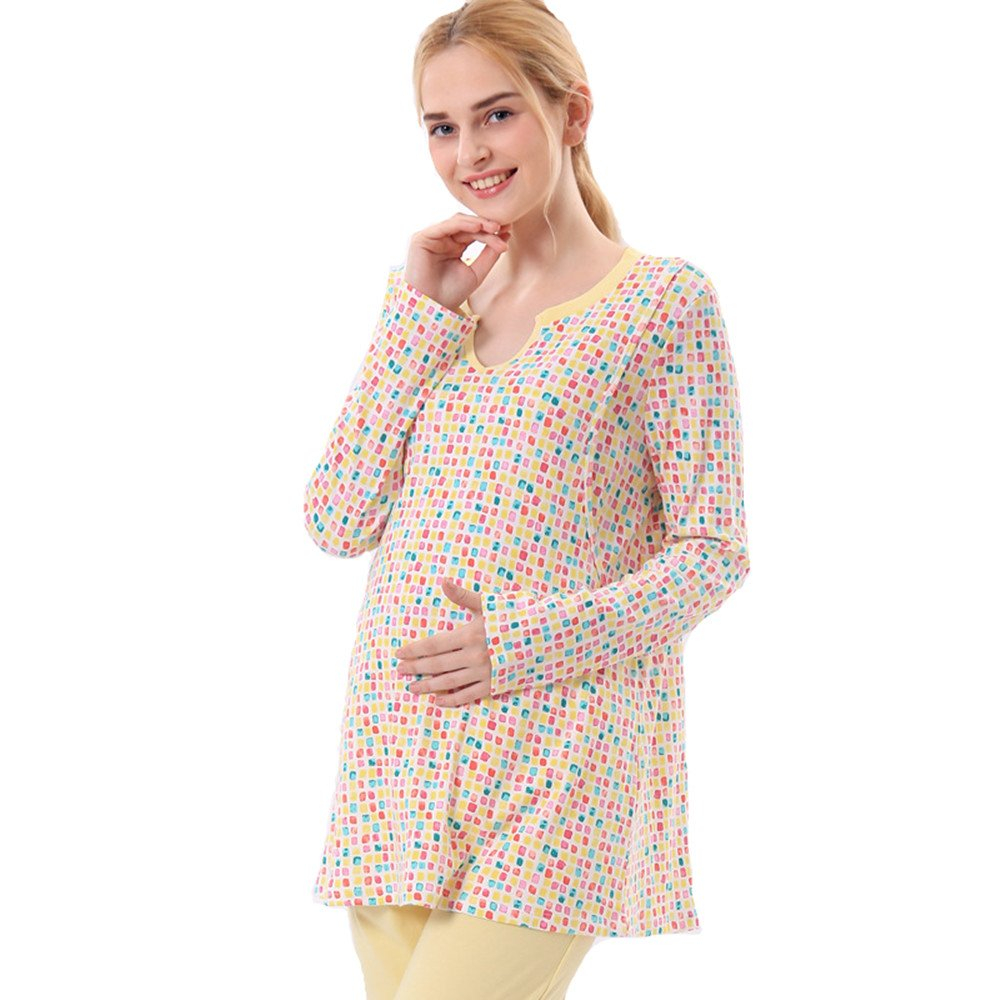 Luyusbaby Women's Maternity Nursing Cotton Pajamas Breastfeeding Sleepwear Pants Set, X-Large