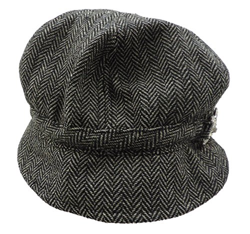 Women's Herringbone Jockey Style Hat With Rhinstone Bridle Buckle Black ()