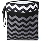 Cloth Diaper Wet Dry Bags, Waterproof Reusable Travel Bags with Two Zippered Pockets, Travel Beach Pool Daycare Soiled…