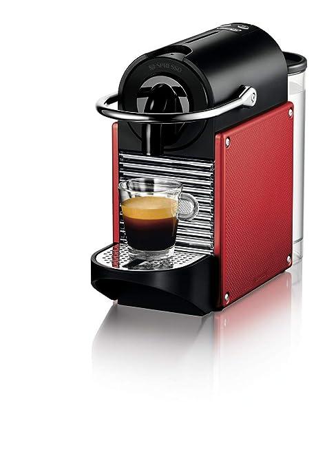 Nespresso DeLonghi Pixie EN125R - Cafetera monodosis de cápsulas Nespresso, 19 bares, apagado automático, color rojo carmín