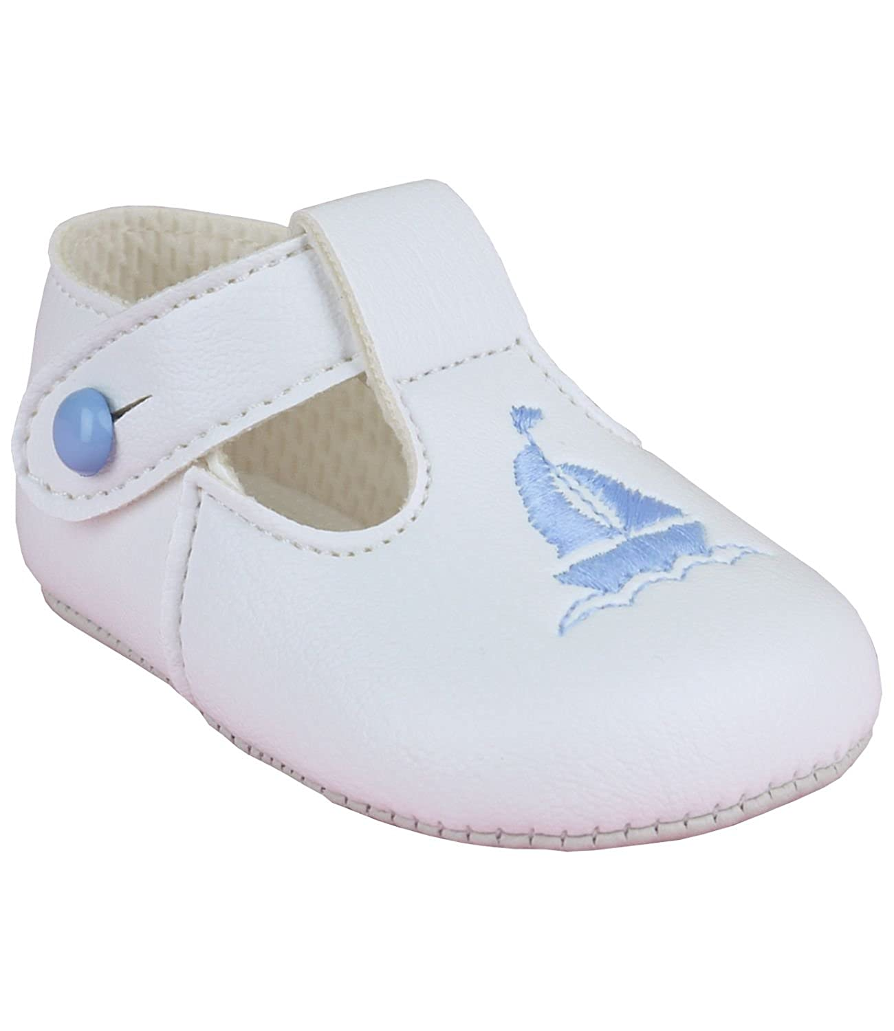 Babyprem Baby Shoes Boys Clothes Classic Soft Soled T Bar Button Blue Boat Ship