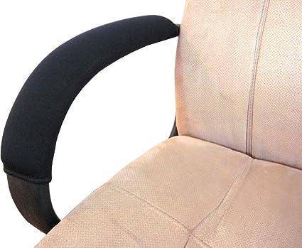 vimmor ajustable silla de terciopelo suave cómodo reposabrazos protectores para casa, oficina, color negro, 2 unidades