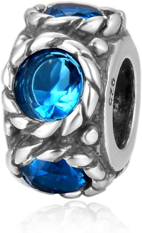 Flower Design Sterling Silver March Birthstone Charm Bead Aquamarine Blue Swarovski Crystal Fit All Charm Bracelet Necklace Women Gift Compatible with Pandora EC590