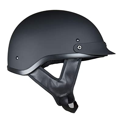 Fuel Helmets SH-HHFL66 Unisex-Adult Deluxe Shorty DOT Approved Motorcycle Half Helmet (Flat Black, Large): Automotive