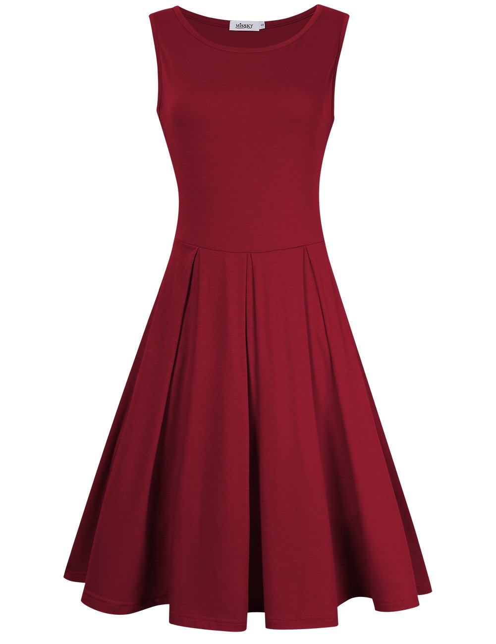 MISSKY Women Sleeveless Round Neck Knee Length Fit Flare Swing Casual Vintage Summer Dress (S, Burgundy-90) by MISSKY
