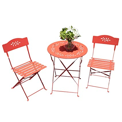 Miraculous Oc Orange Casual 3 Piece Folding Bistro Set Steel Patio Dining Table And Chair Sets Garden Backyard Outdoor Furniture Machost Co Dining Chair Design Ideas Machostcouk
