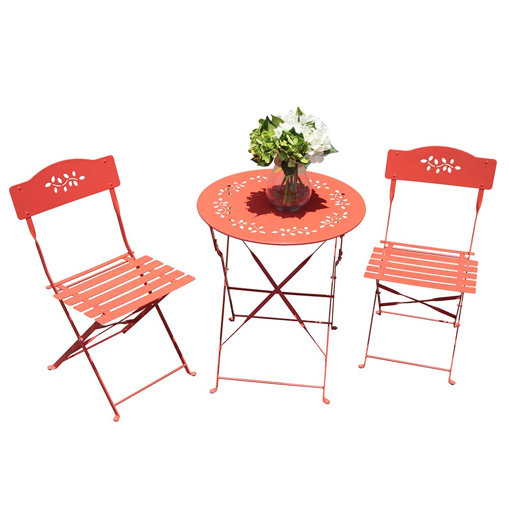 OC Orange-Casual 3-Piece Folding Bistro Set Steel Patio Dining Table and Chair Sets Garden Backyard Outdoor Furniture