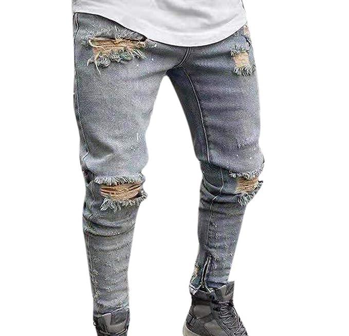 Huateng Pantalones Vaqueros para Hombres, Pantalones ...