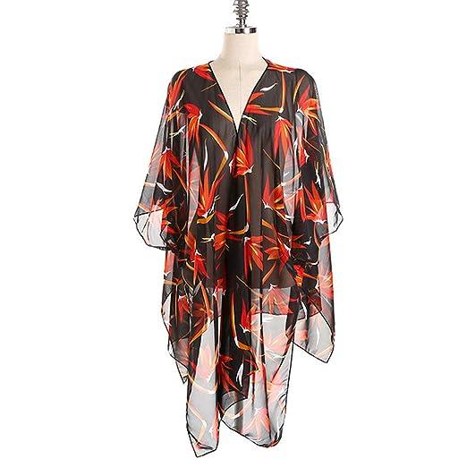 f62e23d710 Swyss Womens Maple Leaf Print Kimono Cardigan Open Front Blouses Chiffon  Sheer Summer Beachwear Swimsuit Cover