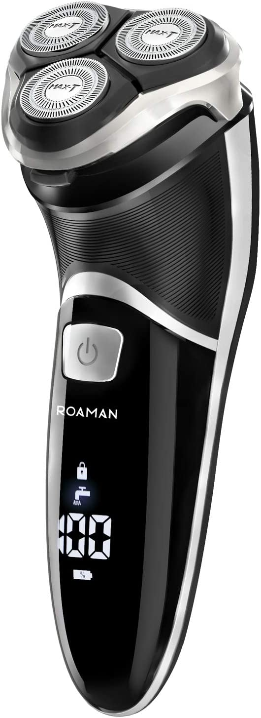 Men Electric Razor, ROAMAN Rechargeable Corded and Cordless Electric Shaver for Men with Pop-up Trimmer,Wet Dry IPX7 Waterproof,Wall Adapter 100-240v