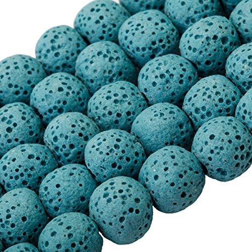 "SUNYIK Blue Lava Rock Stone,Loose Bead for Jewelry Making 10mm 14"" from SUNYIK"