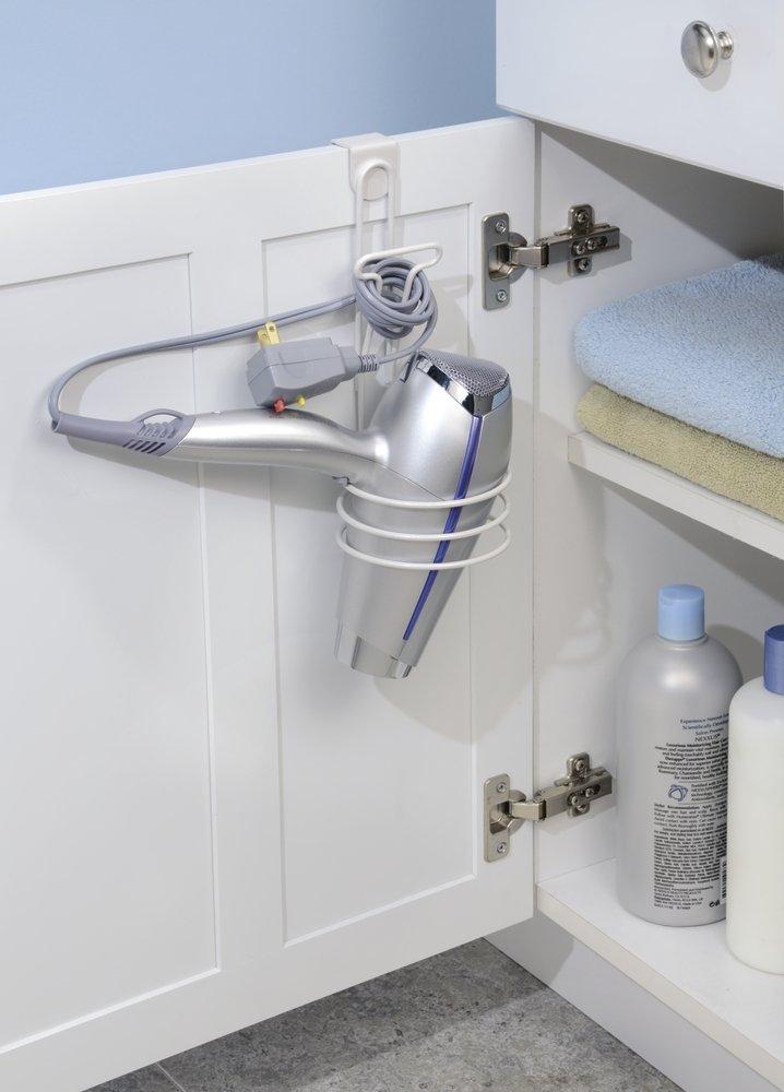 InterDesign Classico soporte secador pelo | Soporte secador para colgar en la puerta | Productos de peluqueria | De metal color blanco: Amazon.es: Hogar