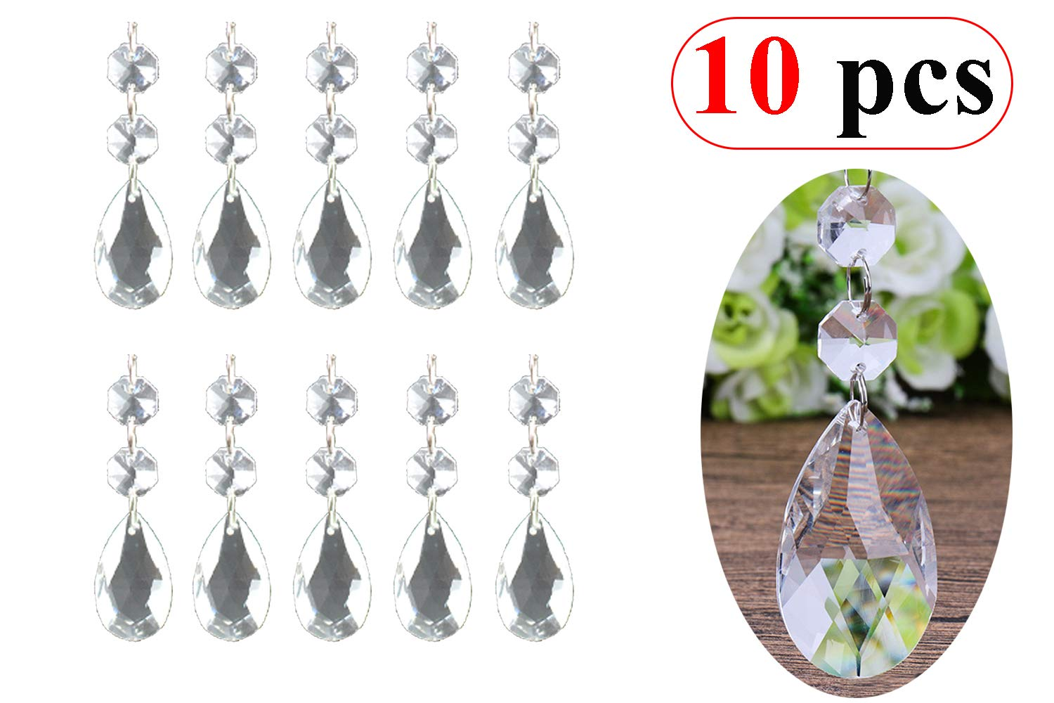 10Pcs Crystal Beads Pendants,Clear Teardrop Chandelier Crystal Pendants Glass Pendants Beads for Wedding Party Tree Garlands Decoration Gems Bead Strands Christmas Wedding Part Tree Garlands