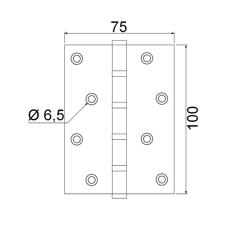 SO-TECH/® Paumelle pour Porte Charni/ère /à Visser Acier Inoxydable /à roulement /à billes avec Vis en Acier Inox//Capacit/é de Charge 50 kg///Épaisseur Mat/ériel 2 mm 2 paires 100 x 75 mm 4 pi/èces