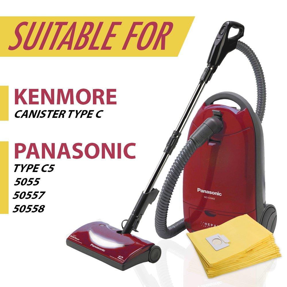 Set of 12 Anti-bacterial Hypoallergenic Premium Vacuum Bags for Kenmore Canister Type C, Panasonic Type C5, 50558 50557 5055 Vacuum Cleaner, Eco-friendly Wood Pulp Paper by King Vacuum Bags (Image #4)