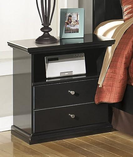 Maribel One Drawer Bedroom Nightstand Black Finish