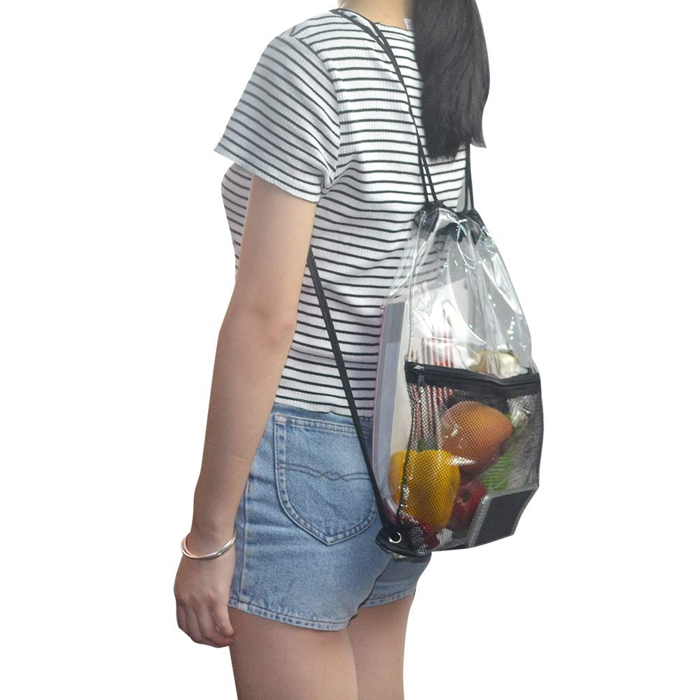 Clear Drawstring Bag, PVC Drawstring Backpack with Front Zipper Mesh Pocket by Magicbags (Image #7)