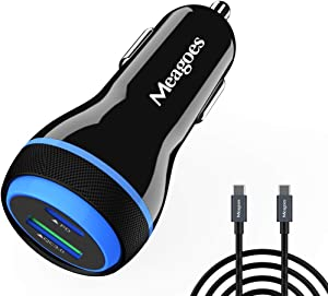 Super Fast Car Charger, Meagoes USB C Rapid Charging Adapter with [25W PPS] PD&QC3.0 Compatible for Samsung Galaxy S20/Ultra/Plus/Note 20/10/A71/A51 5G/Z Fold, iPad Pro, Google Pixel - 6ft Type C Cord