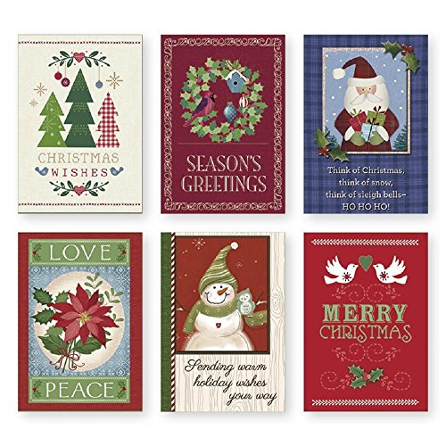 Christmas Holiday Boxed Cards - Xmas Box Set Assortment of Traditional Designs - 36 Count With Envelopes And Sentiment (Card Holiday Assorted)