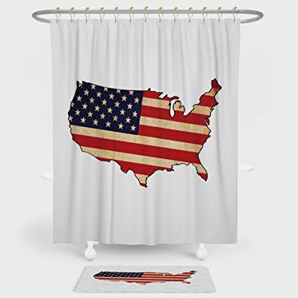 IPrint USA Map Shower Curtain And Floor Mat Combination Set Retro Toned States Flag Figure Vivid