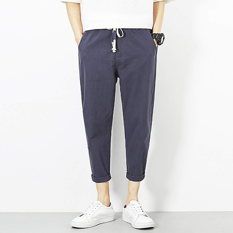 spyman 2019 Mens Linen Ankle Length Pants Comfortable Casual Straight Pants Men 4 Colors M-5XL AYG235