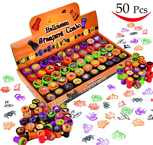 50 Pieces Halloween Assorted Stamps Kids Self-Ink Stamps (25 DIFFERENT Designs, Plastic Stamps, Trick Or Treat Stamps, Spooky Stamps) for Halloween Party Favors, School Prizes, Halloween Goodies