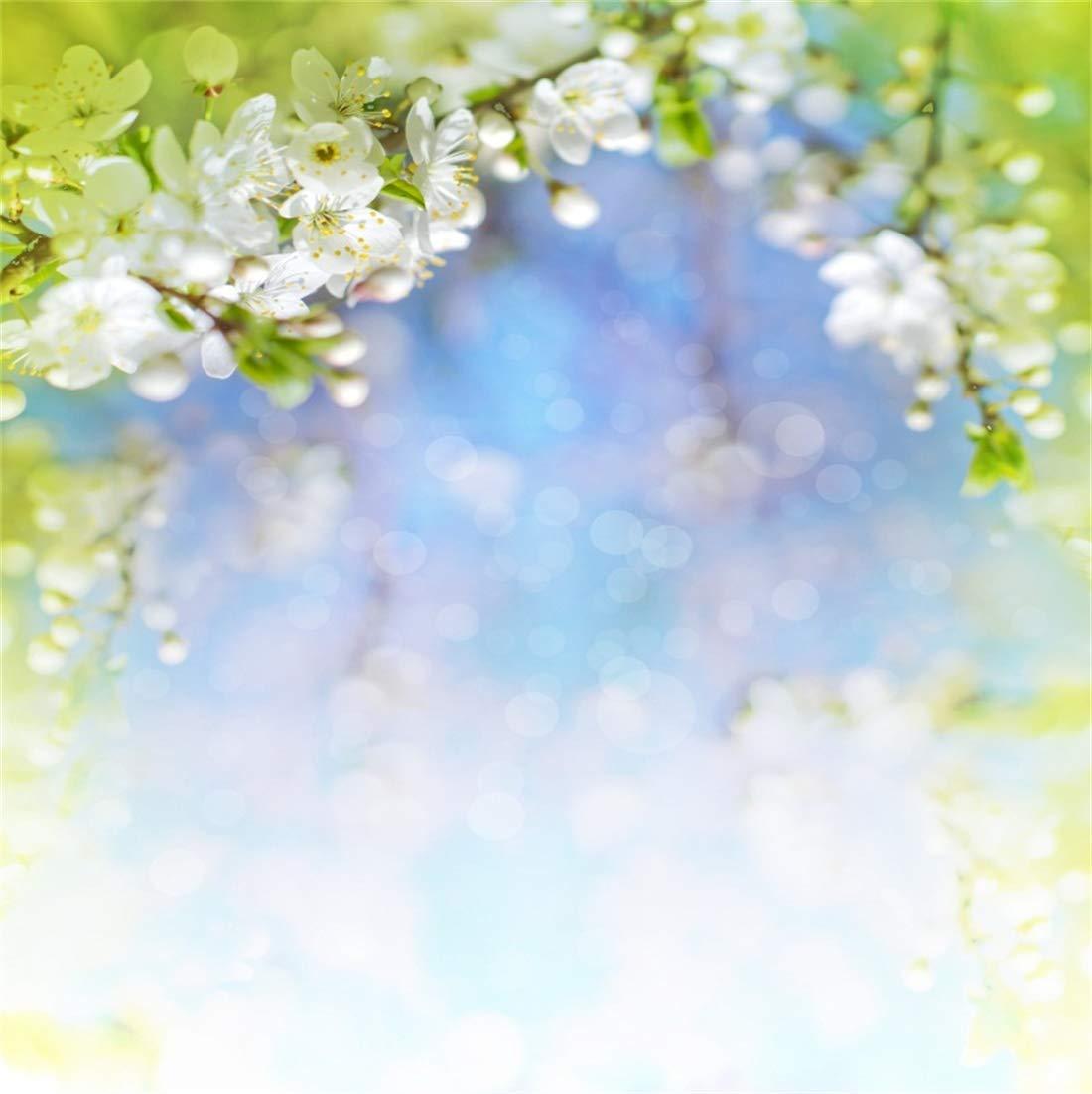 Yeele 6x6フィート ビニール 写真 背景 春の風景 桜 花 枝 ぼかしの焦点 白 花 草 太陽の光 写真 背景 写真 スタジオ 小道具   B07MNSDVM4
