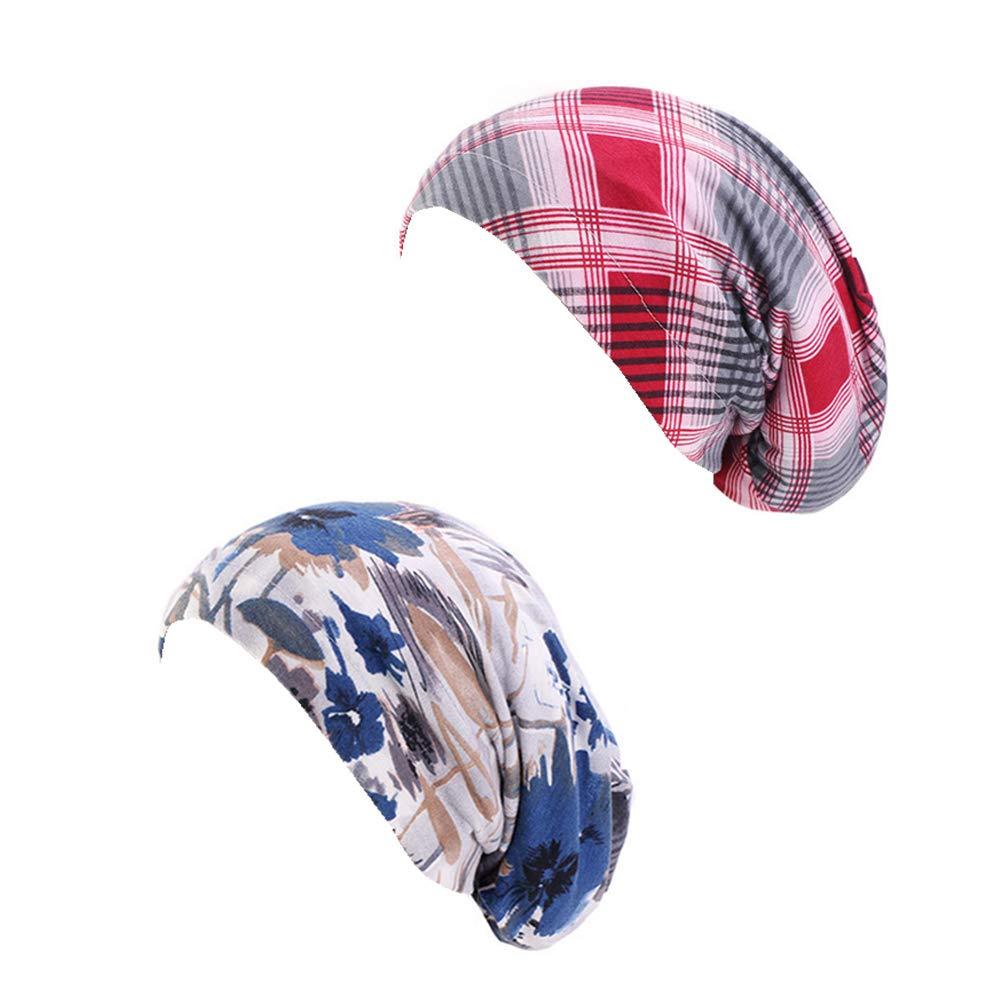Asufegucd Sleep Cap Beanie Slap Hat - Satin Silk Lined, Cotton Outer (Printing JD620)