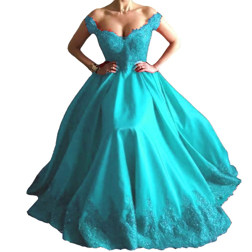 Aqua bluee Kivary Beaded Lace Off The Shoulder Satin Formal Long Prom Dresses Evening Gown