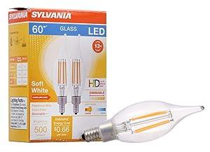 SYLVANIA General Lighting 40405 Sylvania LED Filament Light Bulb, B10 Lamp, Candelabra Base, Clear Finish, Efficient 5.5W, Soft White 2700K, 2 Pack, 2