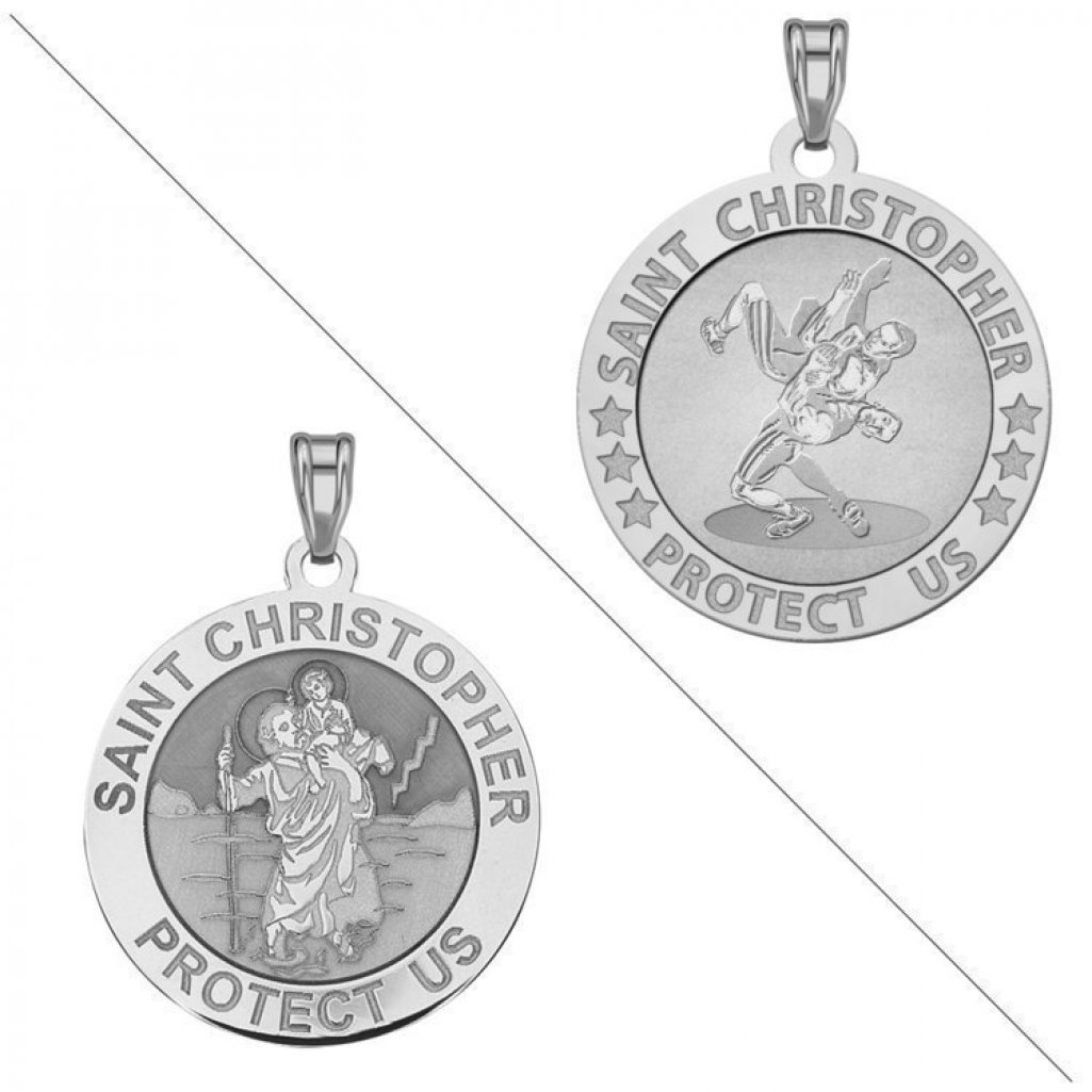 Wrestling - Saint Christopher Doubledside Sports Religious Medal - 2/3 Inch Size of a Dime - Sterling Silver by PicturesOnGold.com