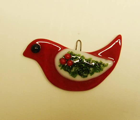 red bird with holly wing fused glass christmas ornament suncatcher