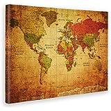 GIALLO BUS - CUADRO - IMPRESION EN LIENZO - WORD MAP OLD - MAPPA DEL MONDO ANTICA - 100X140CM