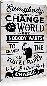 BEASTZHENG Funny Be The Change Bathroom Metal Tin Sign Wall Decor - Farmhouse Change The Toilet Paper Bathroom Quote Tin Sign for Toilet Restroom Washroom Home Decor Gifts