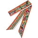 TOPSTORE01 Vintage Foulard Femme Ruban Echarpe Stripes Rainbow Fleurs  Décoration Accessoire Sac à Main Bandeau à 3eb56d7d25a