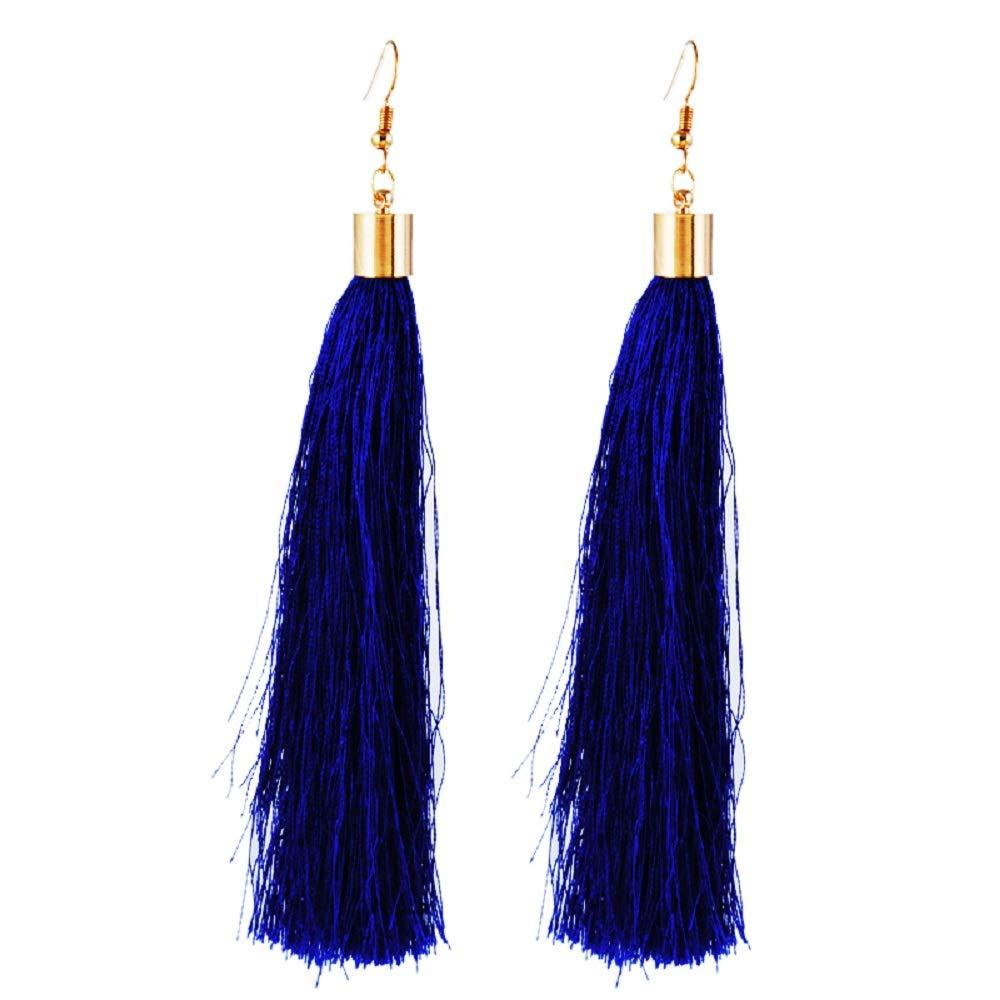 RainBabe 1Pair Women's Retro Vintage Ethnic Tassels Dangle Drop Women's Earrings Jewellery (Dark Blue)
