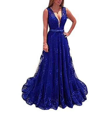 Bainjinbai 2017 Long Lace Prom Dresses Formal Bridesmaid Evening Gowns For Women Blue UK 26