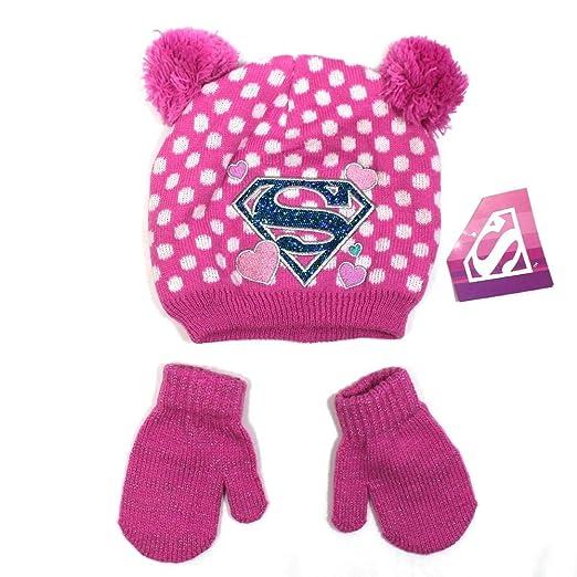 098bfa9a123 DC Comics Supergirl Superman Toddler Girls Pom Pom Beanie Hat   Mittens Set  (2T-
