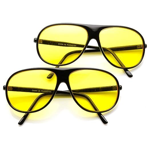 2a755175cd Yellow Tinted Driving Lens Retro Teardrop Plastic Aviator Sunglasses  (2-Pack (Black)